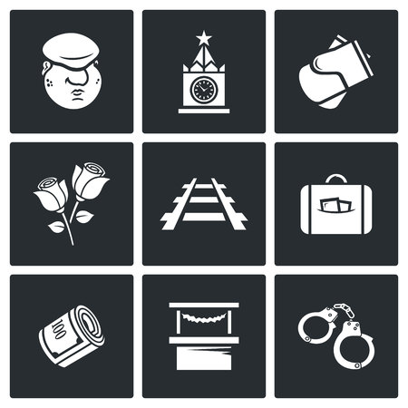 expulsion: Vector Isolated Flat Icons collection on a black background for design Illustration