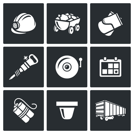 mine lamp: Vector Isolated Flat Icons collection on a black background for design Illustration