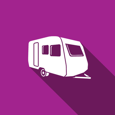 caravan: Vector Isolated Flat Icon on a purple background for design
