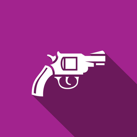 vintage riffle: Vector Isolated Flat Icon on a purple background for design