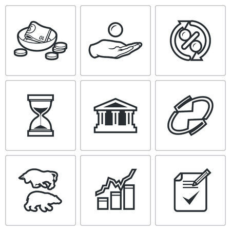 financial institutions: Vector Isolated Flat Icons collection on a white background for design