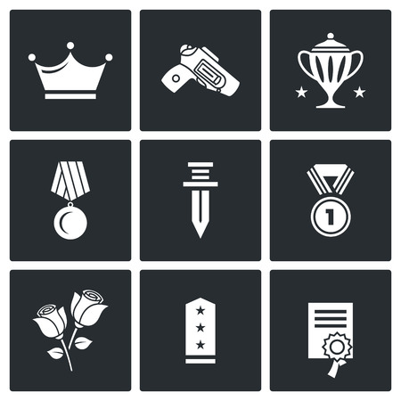 epaulettes: Vector Isolated Flat Icons collection on a black background for design Illustration