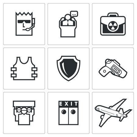 evacuation equipment: Vector Isolated Flat Icons collection on a white background for design