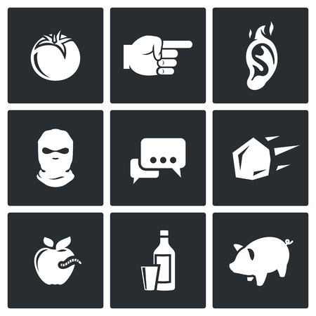 slob: Vector Isolated Flat Icons collection on a black background for design Illustration