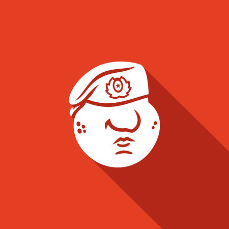 military beret: Vector Isolated Flat Icon on a red background for design Illustration