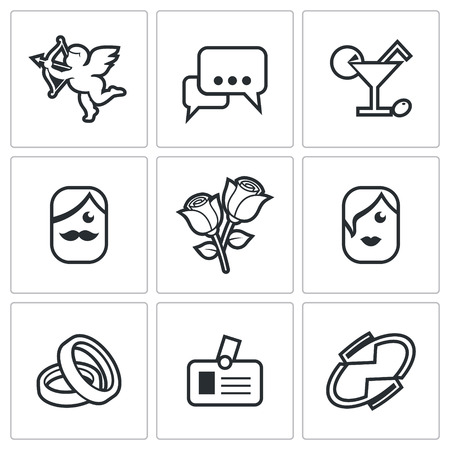 speed dating: Vector Isolated Flat Icons collection on a white background for design