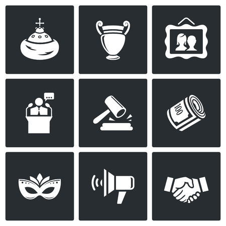 artifact: Vector Isolated Flat Icons collection on a black background for design Illustration