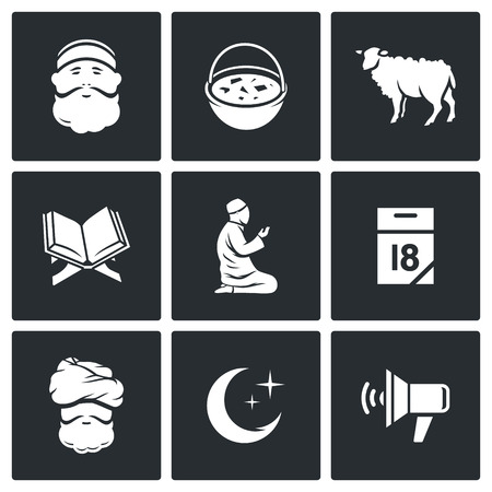 sermon: Vector Isolated Flat Icons collection on a black background for design Illustration