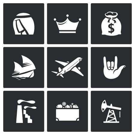 cofre del tesoro: Vector Colecci�n aislado planas iconos sobre un fondo negro para el dise�o