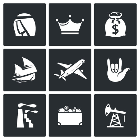 mining ships: Vector Isolated Flat Icons collection on a black background for design Illustration