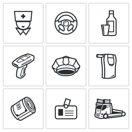 drunk driving: Vector Isolated Flat Icons collection on a white background for design