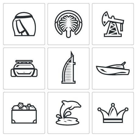 isla del tesoro: Vector Colecci�n aislado planas iconos sobre un fondo blanco para el dise�o