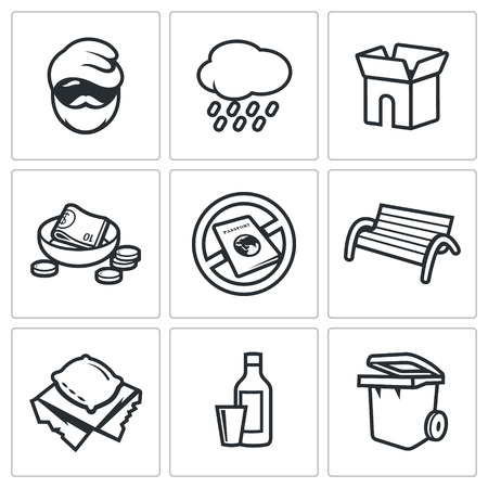 begging: Vector Isolated Flat Icons collection on a white background for design