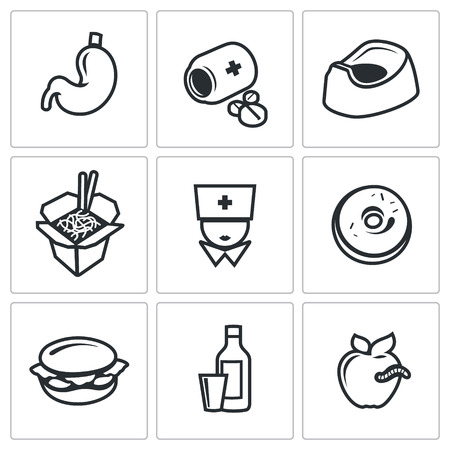 unsanitary: Vector Isolated Flat Icons collection on a white background for design