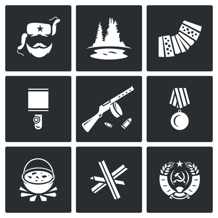 partisan: Vector Isolated Flat Icons collection on a black background for design Illustration