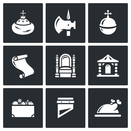 halberd: Vector Isolated Flat Icons collection on a black background for design Illustration