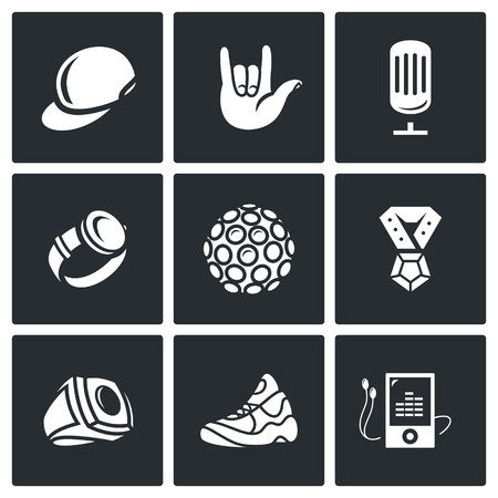 lighting fixtures: Vector Isolated Flat Icons collection on a black background for design Illustration