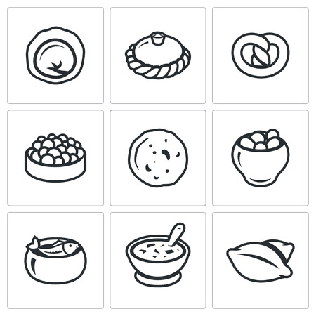 russian cuisine: Vector Isolated Flat Icons collection on a white background for design