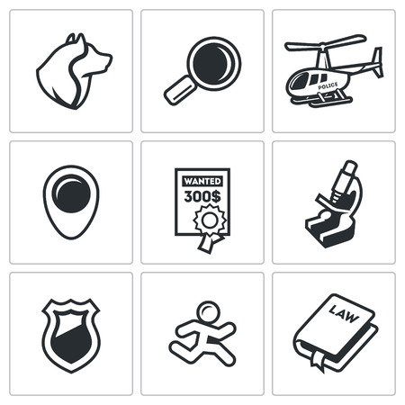 stalking: Vector Isolated Flat Icons collection on a white background for design
