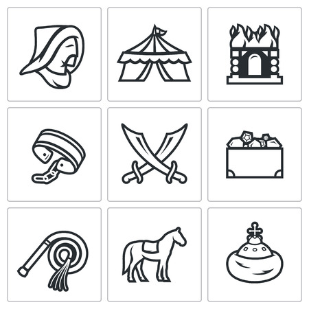 yoke: Vector Isolated Flat Icons collection on a white background for design