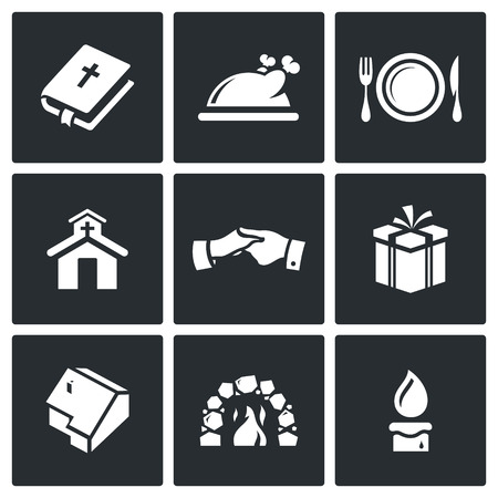holy thursday: Vector Isolated Flat Icons collection on a black background for design Illustration
