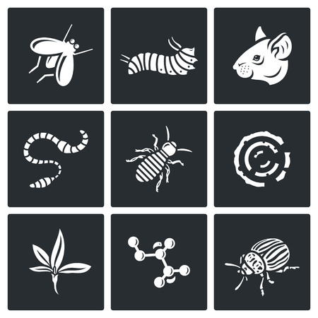 disease carrier: Vector Isolated Flat Icons collection on a black background for design Illustration