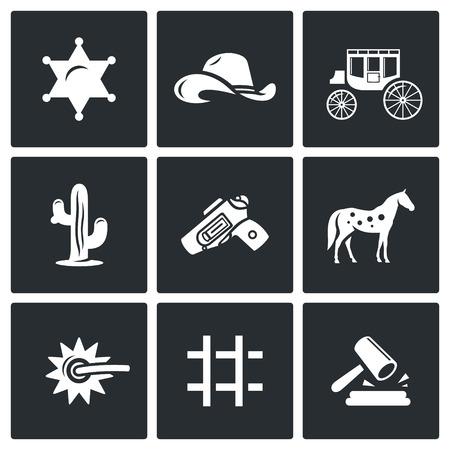 vaquero: Vector Colección aislado planas iconos sobre un fondo negro para el diseño