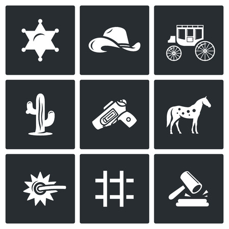 western: Vector Isolated Flat Icons collection on a black background for design Illustration