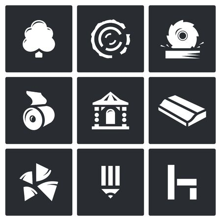 sawn: Vector Isolated Flat Icons collection on a black background for design Illustration