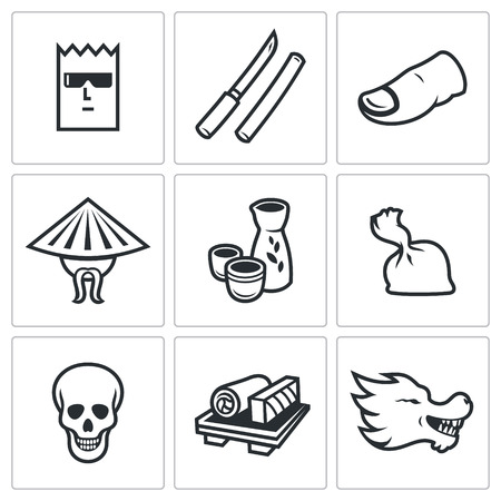 organized crime: Vector Isolated Flat Icons collection on a white background for design