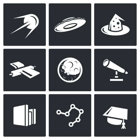 otherworldly: Vector Isolated Flat Icons collection on a black background for design Illustration