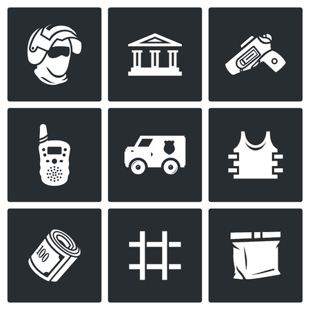prison facility: Vector Isolated Flat Icons collection on a black background for design Illustration