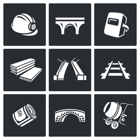 architectural team: Vector Isolated Flat Icons collection on a black background for design Illustration