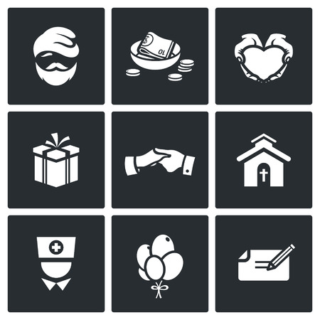 hospice: Vector Isolated Flat Icons collection on a black background for design Illustration