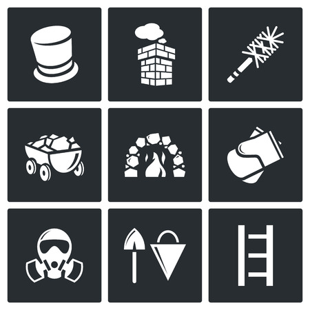 removing: Vector Isolated Flat Icons collection on a black background for design Illustration