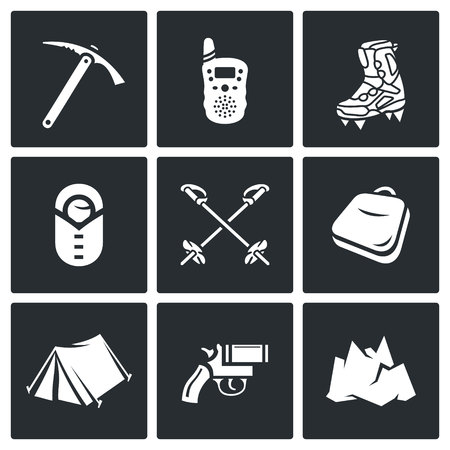 top gun: Vector Isolated Flat Icons collection on a black background for design Illustration