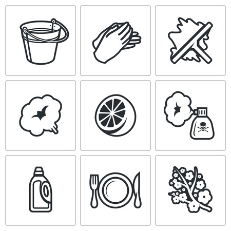 removing: Vector Isolated Flat Icons collection on a white background for design