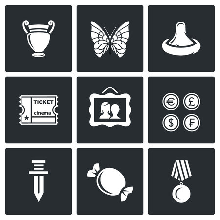 numismatics: Vector Isolated Flat Icons collection on a black background for design Illustration