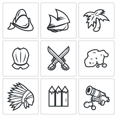 conquistador: Vector Isolated Flat Icons collection on a white background for design