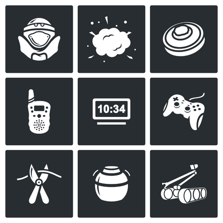 shrapnel: Vector Isolated Flat Icons collection on a black background for design Illustration