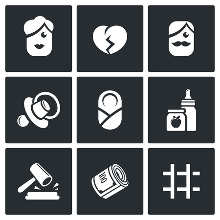 betrayal: Vector Isolated Flat Icons collection on a black background for design Illustration