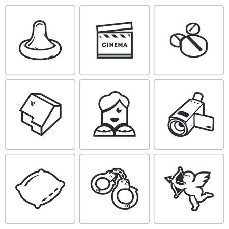 condones: Vector Colección aislado planas iconos sobre un fondo blanco para el diseño