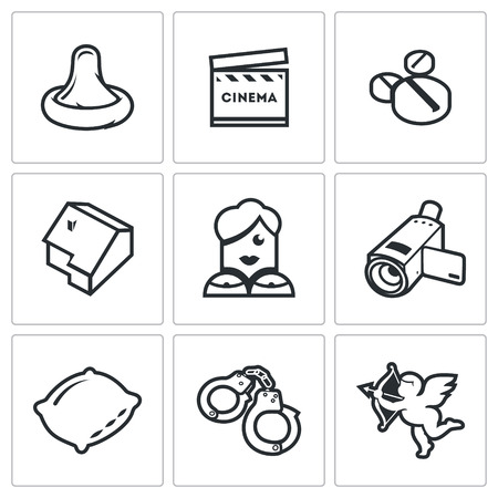 condoms: Vector Isolated Flat Icons collection on a white background for design