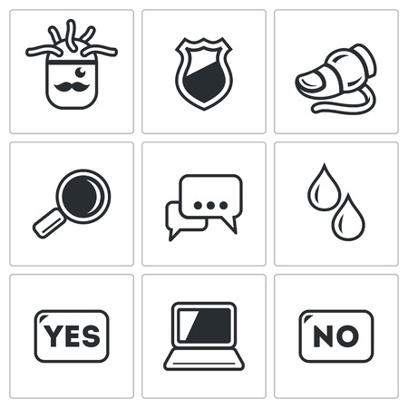 though: Vector Isolated Flat Icons collection on a white background for design