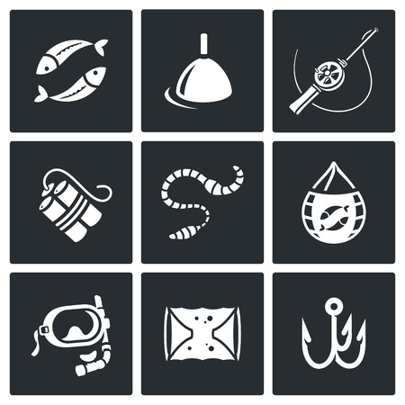 trawl: Vector Isolated Flat Icons collection on a black background for design Illustration