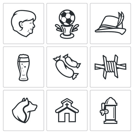 fascism: Vector Isolated Flat Icons collection on a white background for design