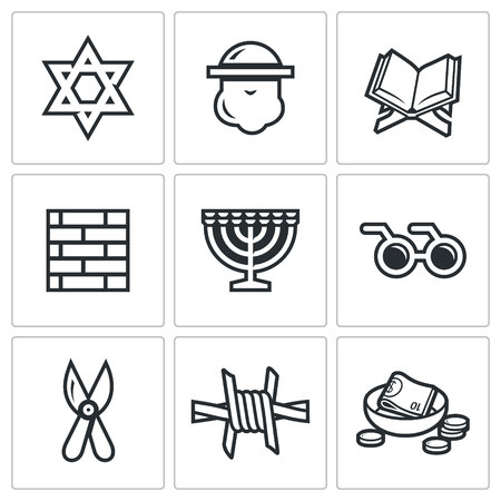 zionism: Vector Isolated Flat Icons collection on a white background for design