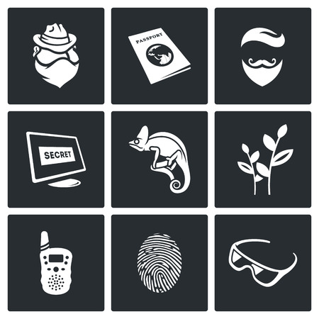 secretive: Vector Isolated Flat Icons collection on a black background for design Illustration
