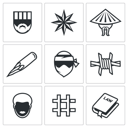 hardened: Vector Isolated Flat Icons collection on a white background for design