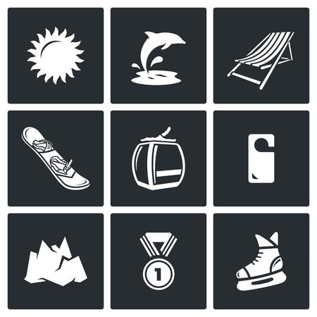 sun bed: Vector Isolated Flat Icons collection on a black background for design Illustration
